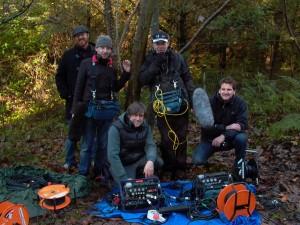 El equipo de producción de sonido durante el rodaje